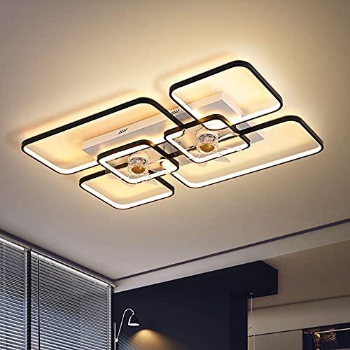 Luz de Ventilador de Techo de Sala de Estar, atenuación de Control Remoto, Fuente de luz LED 120W, silencioso, Negro, Oro (Color : Black, Size : 90 * 60cm)