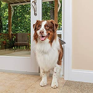 PetSafe Freedom Aluminum Patio Panel Sliding Glass Dog and Cat Door, Adjustable 76 13/16 in to 80 11/16 in – Large White Pet Door