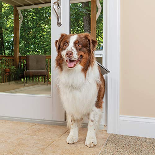 PetSafe Freedom Aluminum Patio Panel Sliding Glass Dog and Cat Door, Adjustable 76 13/16 in to 80 11/16 in - Large White Pet Door