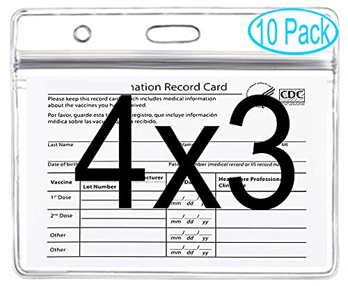 10 Pack CDC Vaccination Card Protector Card Waterproof Badge Holders, Vaccine Cards 4 X 3 Inches Immunization Record Cards, Clear Vinyl Plastic Sleeve w 3 Lanyard Slots Type Resealable Zip for Pass