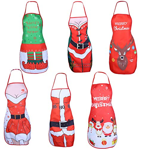 LOCOLO 6 PCS Christmas Aprons Adjustable Kitchen Apron Funny Xmas Cartoon Apron Elk Aprons Santa Snowman Aprons Christmas Dinner Cooking Barbecue Baking Crafting Apron