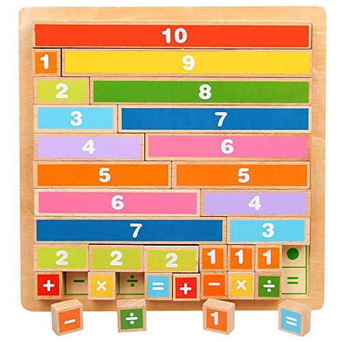 Yifuty Mathematik Arithmetik Lehrmittel Kindergarten Vorschule First Grade Addition und Subtraktion Berechnung Lehrmittel Arithmetic Bausteine Kinder (Color : Holzfarbe)