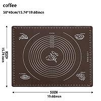 XHYRB ベーキングマット食品グレードシリコーンノンスティックベーキングマットは、パッドフォンダンペストリー生地高温の調理道具、余分なラーグでオーブン ケーキデコレーションデザートモールド (Color : 50x40cm coffee)