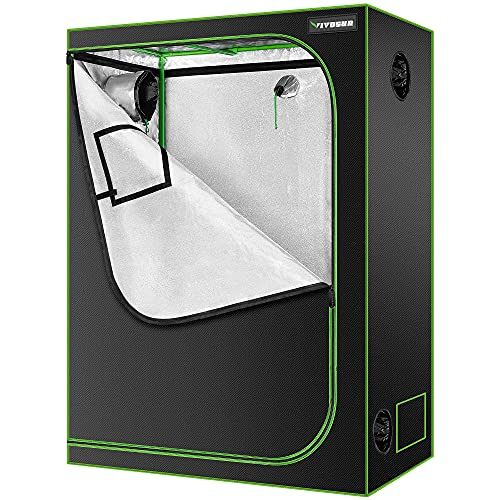VIVOSUN 48'x24'x60' Hydroponic Mylar Grow Tent with Observation Window and Floor Tray for Indoor Plant Growing - 4' x 2'