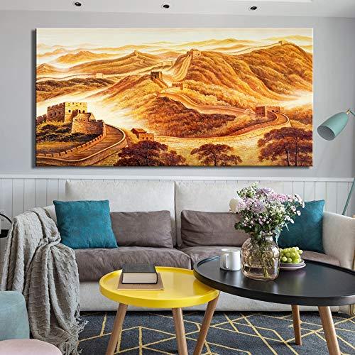 Posters en wandafbeeldingen op canvas sieren de landschapsafbeeldingen van de Chinese muur aan de muur.