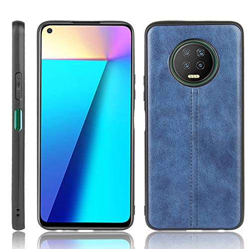 A+Xu Jie For Infinix Note 7 Shockproof Sewing Cow Pattern Skin Texture PC + PU + TPU Case (Color : Blue)