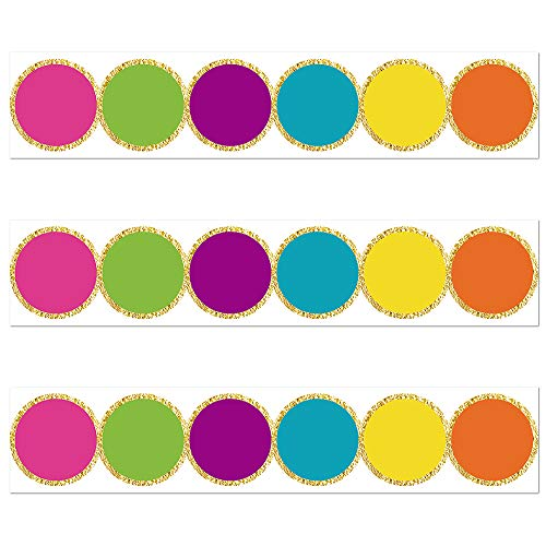 Confetti Circles Die-Cut Border Trim - Bulletin Borders Stickers, 50 ft Back-to-School Decoration Borders for Black Board Trim, Teacher/Student Use for Classroom/School Decoration