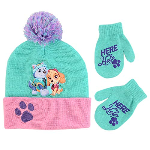 Nickelodeon Girls' Toddler Paw Patrol Hat and Mittens Cold Weather Set, green/pink, Age 2-4