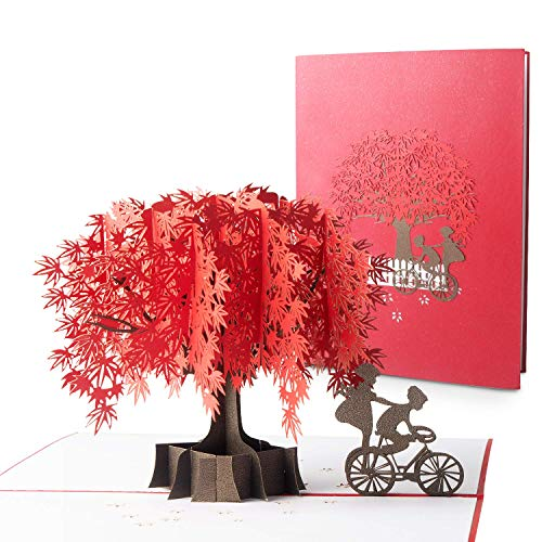 Blasoul Maple Tree 3D Pop Up Greeting Cards for Mother's Day, Father's Day, 3D Birthday Card for Mom or Dad, Anniversary Card for Lovers and Couple, Greeting Cards with Envelope for Valentine's Day