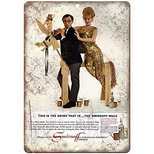 GONGXIAMI Sierth Smirnoff Wodka Woody Allen Spirituosen Bier Metallschild Blechschild Poster Retro Wandkunst Dekoration Tafel für Zuhause Bar Kaffee Garage 30,5 x 20,3 cm