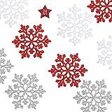 Copos de Nieve Decoración de Árbol de Navidad, Adorno de Copo de Nieve de Plástico, Decoraciones Colgantes de Copo, Adornos de Navidad Copo de Nieve con Brillo, 10 cm, Rojo-Plata-Blanco, 24 Piezas