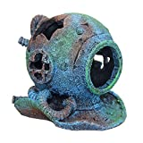 JIAGU Decoración de Acuario Creativa del Ornamento De La Resina De La Ruina del Casco del Salto Paisaje del Acuario Decoración del Acuario (Color : Painted, Size : 14x13x14cm)