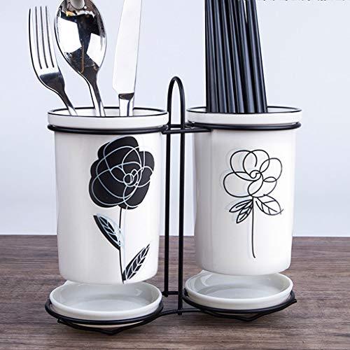 Escurrecubiertos cuberteria escurridor Organizador de Cubiertos– Portacubiertos para Cocina o Mesa de Comedor Organizador de cocina para encimera,soporte para cubiertos redondo,De ceramica,Blanco
