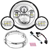 SUNPIE Motorcycle 7 Inch LED Headlight Chrome for H arley Road King, Road Glide, Street Glide and Electra Glide,Ultra Limited with 4-1/2 LED Passing Lamps Fog Lights and Bracket Mounting Ring
