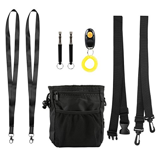 Kesote Hundetraining Set, 2 Stück Hundepfeife Dog Whistle mit Klicker und Hundetraining Tasche (Schwarz)