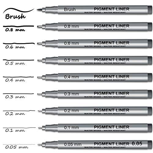 FineLiner Schwarzer Stift, ANYUKE 9 Multiliner Wasserfester Stifte, Micron FineLiner Set zum Schreiben, Skizzieren und Zeichnen, Permanent Tuschestift Artist Pen Pigment Liner Outliner