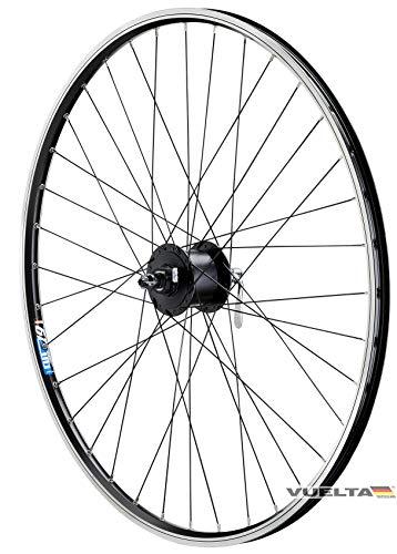 28 Zoll Fahrrad Laufrad Vorderrad Hohlkammerfelge Shimano Nabendynamo DHC30003 mit Schnellspanner schwarz für V-Brakes/Felgenbremse