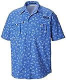 Columbia Super Bahama™ - Camiseta de Manga Corta para Hombre, Hombre, Camisetas con Cuello Abotonado, 1438971, Estampado de Sirenas Azul vívido, XS