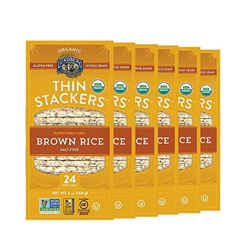 Lundberg Organic Thin Stackers, Salt-Free, 6oz (6 Count), Gluten-Free, Vegan, Kosher, USDA Certified Organic, Non-GMO Verified, Whole Grain Brown Rice