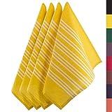Sidorenko Paños de cocina de algodón 45x75 cm amarillo/blanco a rayas - Juego de 4 trapos cocina