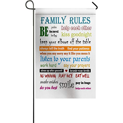ARTSHOWING Family Rules Garden Flag Vertical Double Sided, All Season Outdoor Flag Yard Outdoor Decoration 28x40inch Motivational and Inspirational Quotes Rainbow Color