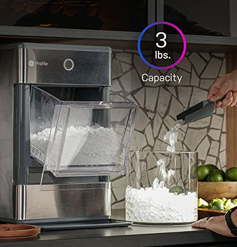 GE Profile Opal | Countertop Nugget Ice Maker with Side Tank | Portable Ice Machine with Bluetooth Connectivity | Smart Home Kitchen Essentials | Stainless Steel Finish | Up to 24 lbs. of Ice Per Day