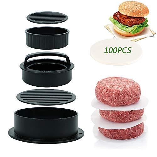 YOUYIKE® Burger Press, 3-en-1 Prensa para Hamburguesas con 100 Papel de Hamburguesas, Moldes para Hamburguesas para Barbacoa,Hamburguesas Mini,Grandes,Rellenas,Se puede usar en lavavajillas