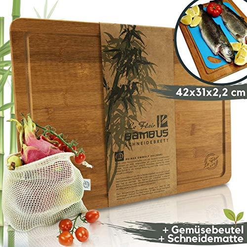 Le Flair Neuheit 3 in 1 Set Bambus Holz Schneidebrett + Obst- und Gemüsebeutel + Schneidematte - Hackbrett u. Tranchierbrett Küchenbrett 42x31x2,2cm - Bambusbrett mit Saftrille & Filzfüßchen