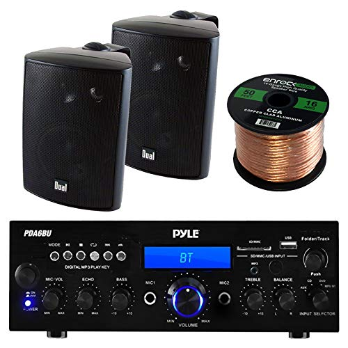 Pyle PDA6BU Amplifier Receiver Stereo, Bluetooth, AM/FM Radio, USB Flash Reader, Aux input LCD Display, 200 Watt With Dual LU43PB Indoor/Outdoor Speakers Bundle With Enrock 50ft 16g Speaker Wire