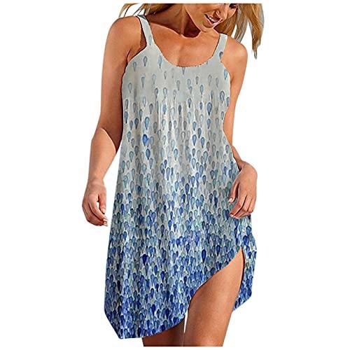 Dasongff Vestido de verano para mujer, de manga corta, sexy, cuello redondo, estampado, suelto, informal, para la playa, estilo boho, retro, sin mangas, bohemio, hasta la rodilla.