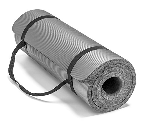 Spoga Premium Extra Thick 72'X 24' Long High Density Exercise Yoga Mat with Comfort Foam & Carrying Straps, Grey