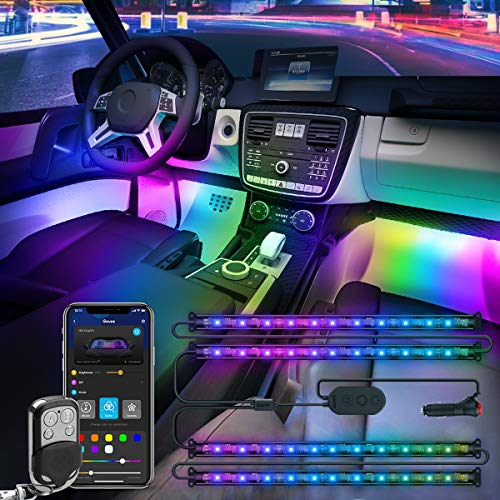 Govee Dreamcolor Interior Car Lights, Car LED Lights with APP and IR Remote, Upgraded 2-in-1 Design 4PCS 72 LED RGBIC DIY Color LED Lighting Kits Sync to Music with Super Length Wires for Various Car