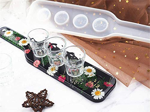 Silicone Tray Molds for Resin, Silicone Shot Glasses Tray Resin Casting Mold Whiskey Glass Cup Rack Epoxy Mould, DIY Tray Resin Mold, Mould Craft Tool DIY Party Home Bar Pub Nightclub Decoration