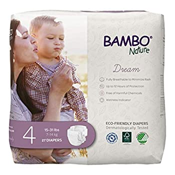 Bambo Nature Premium Eco-Friendly Baby Diapers Size 4  15-31 Lbs  27 Count