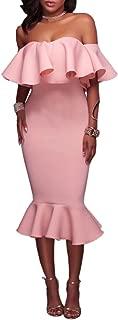 Women's Off Shoulder Ruffle Evening Party Club Bodycon Mermaid Midi Dress