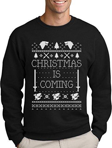 Green Turtle T-Shirts Christmas is Coming - Weihnachtspullover Männer für GOT Fans Sweatshirt Medium Schwarz