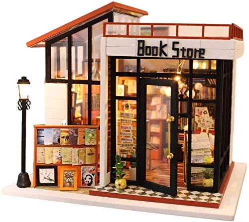 QLKJ DIY Buchhandlung Dekoration Holz DIY Miniatur Mit Staubschutz Puppenhaus Modell Mit MöBeln Staubschutz Weihnachten Geburtstag Geschenke