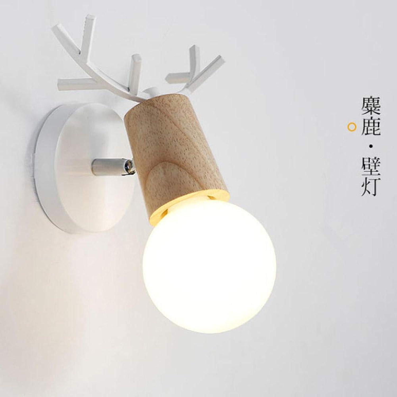 Nordic moderne Holzgeweih macaron Wandleuchte Wohnzimmer Schlafzimmer Nachttisch Esszimmer Dekoration @Wood Weiß_Warmes Licht 7 Watt