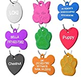 Pet ID Tag Custom for Dog Cat Personalized | Many Shapes and Colors to Choose from | Made in USA | Strong Anodized Aluminum (Bone Silver, Large)