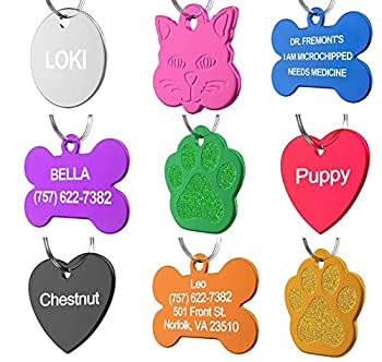 Pet ID Tag Custom for Dog Cat Personalized   Many Shapes and Colors to Choose from   Made in USA   Strong Anodized Aluminum Heart Pink Large