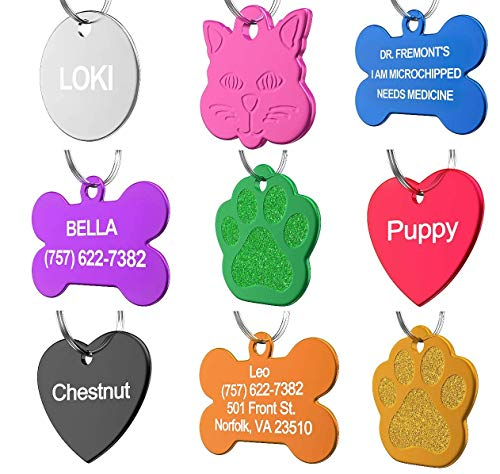 Pet ID Tag Custom for Dog Cat Personalized | Many Shapes and Colors to Choose from | Made in USA | Strong Anodized Aluminum (Bone Blue, Large)