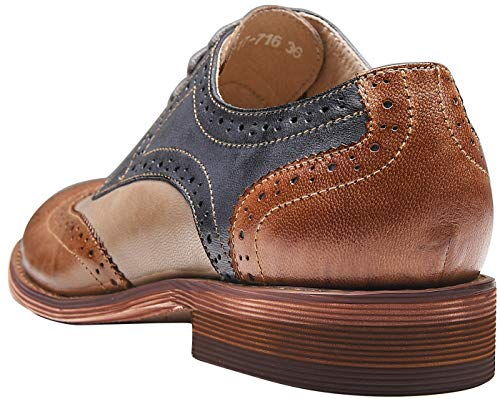 U-lite Brown Blue Perforated Brogue Wingtip Leather Flat Oxfords Vintage Oxford Shoes Women BB 6.5