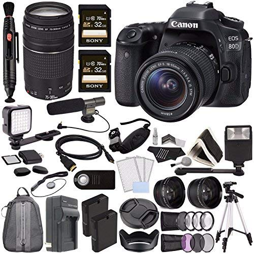 %12 OFF! Canon EOS 80D DSLR Camera 18-55mm Lens + Canon EF 75-300mm f/4-5.6 III Lens + Sony 32GB SDH...