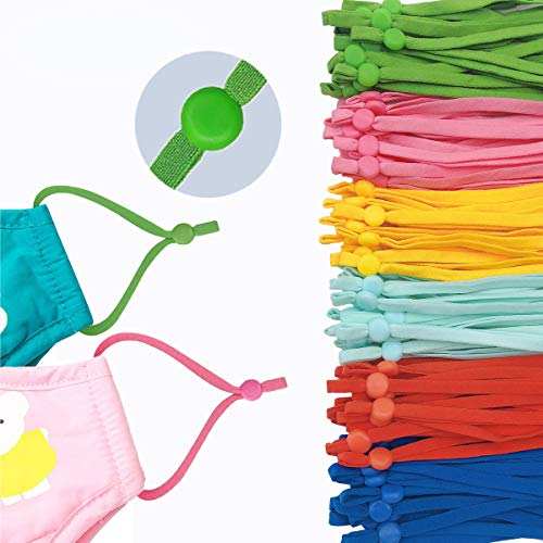 Elástica de colores con hebillas ajustables, cordón elástico para la oreja para manualidades de costura, adecuado para adultos y niños, multicolor, 120 unidades con verde...