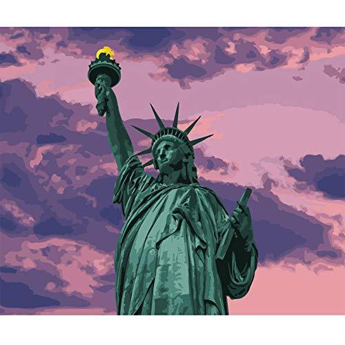 SUZIHUA Malen Nach Zahlen Erwachsene Kinder,DIY Handgemalt Ölgemälde auf Bunte Leinwand Geschenk Grüne Freiheitsstatue Malen Nach Zahlen Kits Home Haus Dekor - 16 * 20 Zoll Rahmenlos
