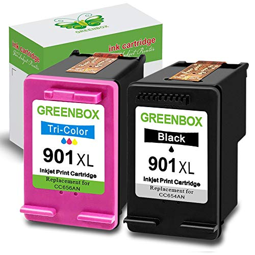 GREENBOX Remanufactured Ink Cartridge for 901 901XL High Yield, Used in Officejet 4500 J4500 J4524 J4535 J4540 J4550 J4580 J4660 J4680 J4680C G510a G510g Printer (1 Black, 1 Tri-Color)