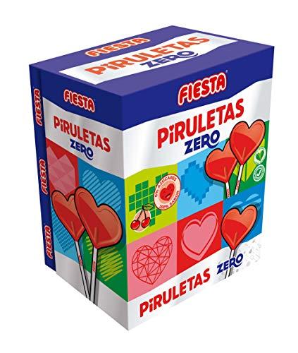 FIESTA Piruletas Zero Caramelo con Palo en Forma de Corazón Sabor Cereza - Sin Azúcar - Caja de 70 unidades