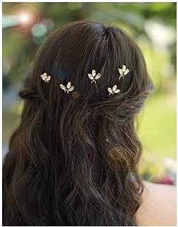 Missgrace Bridal Rhinestone Hair Pins Women Vintage Small Jewelry Headpiece Gypsophila Super Flash Ornament Wedding Hair Accessories 5PCS (Gold)