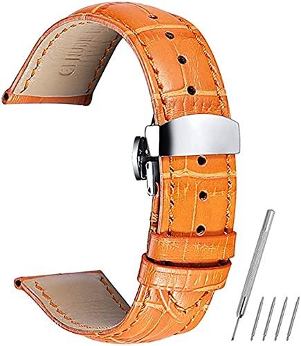 QZMX Correa de reloj Correas de reloj de cuero 14 18 mm, 19 mm, 20 mm, 21 mm, 22 mm, 24 mm, correa de reloj de cocodrilo (color: naranja, tamaño: 20 mm)