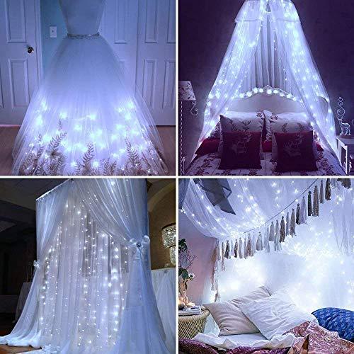 LIIDA Cortina de luces, luces LED parpadeantes, 2.99 m x 2.99 m, con 8 modos de control para día festivo, fiestas, pared al aire libre, decoraciones de boda, Blanco, 9.8ft X 9.8ft